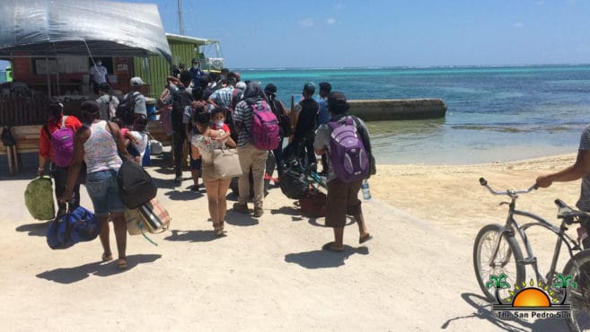 The San Pedro sun captured this mage of people leaving the island as because of no job