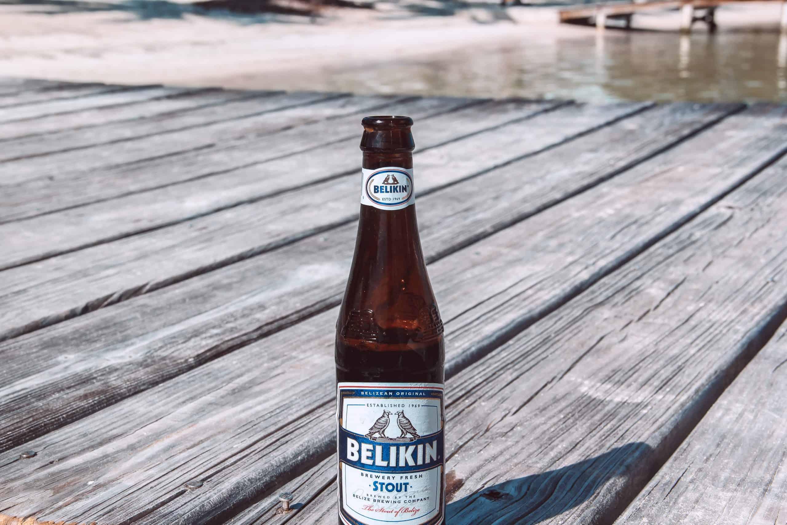 belikin beer on dock