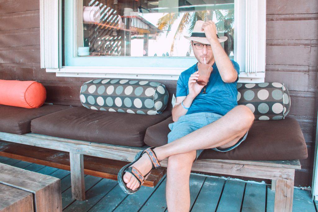 drift inn guest sitting with coffee